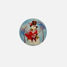 Snowman Snowglobe Mini Button