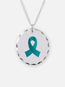 Teal Awareness Ribbon Necklace Circle Charm