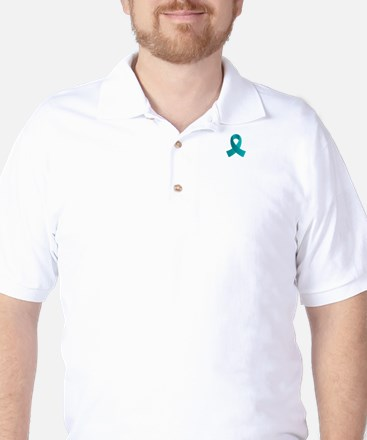 Teal Awareness Ribbon Golf Shirt