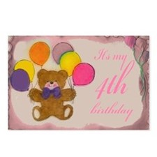 Girl 4th Birthday Postcards (Package of 8)