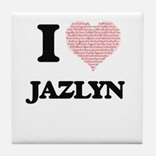 I love Jazlyn (heart made from words) Tile Coaster