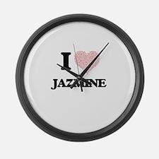 I love Jazmine (heart made from w Large Wall Clock