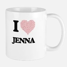 I love Jenna (heart made from words) design Mugs
