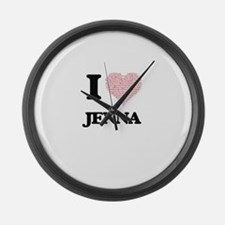 I love Jenna (heart made from wor Large Wall Clock