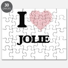 I love Jolie (heart made from words) design Puzzle