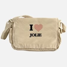 I love Jolie (heart made from words) Messenger Bag