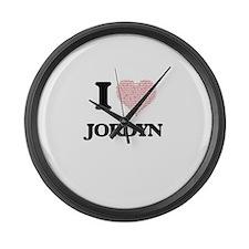 I love Jordyn (heart made from wo Large Wall Clock
