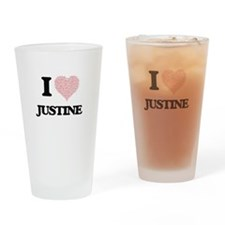 I love Justine (heart made from wor Drinking Glass