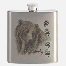 Watercolor Grizzly Bear Tracks Animal art Flask