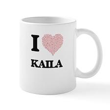 I love Kaila (heart made from words) design Mugs