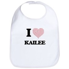 I love Kailee (heart made from words) design Bib