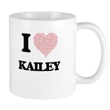 I love Kailey (heart made from words) design Mugs