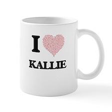 I love Kallie (heart made from words) design Mugs