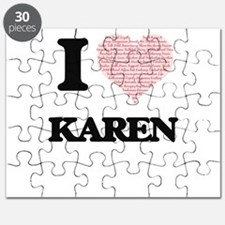 I love Karen (heart made from words) design Puzzle