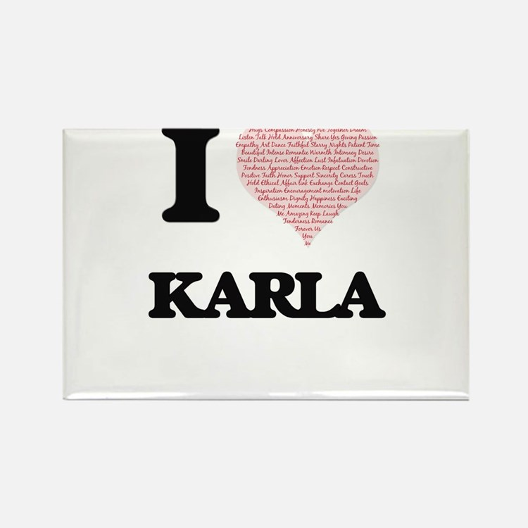 I love Karla (heart made from words) desig Magnets