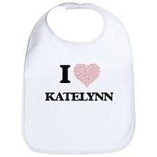 I love Katelynn (heart made from words) design Bib
