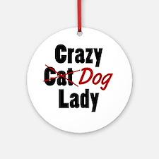 Cute Crazy dog lady Round Ornament
