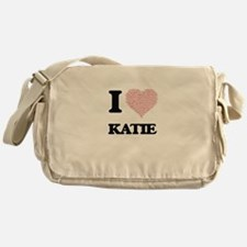 I love Katie (heart made from words) Messenger Bag