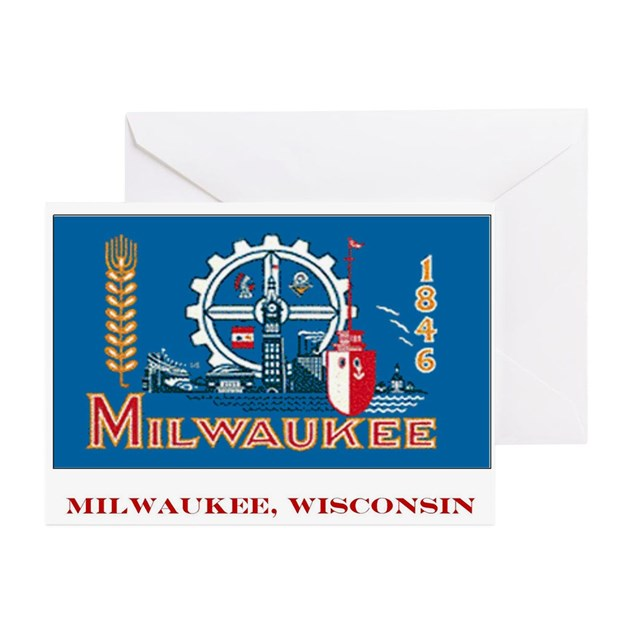 Milwaukee WI Flag Greeting Cards (Pk Of 10) By Janetsgirl