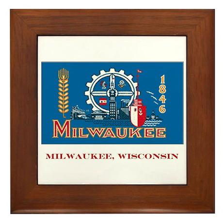 Milwaukee WI Flag Framed Tile