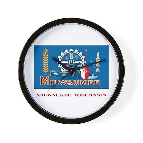 Milwaukee WI Flag Wall Clock
