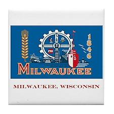 Milwaukee WI Flag Tile Coaster