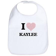 I love Kaylee (heart made from words) design Bib