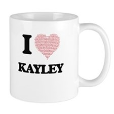 I love Kayley (heart made from words) design Mugs