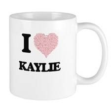 I love Kaylie (heart made from words) design Mugs