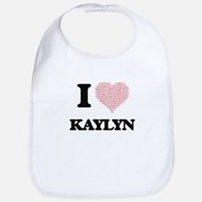 I love Kaylyn (heart made from words) design Bib