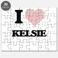 I love Kelsie (heart made from words) desig Puzzle