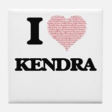 I love Kendra (heart made from words) Tile Coaster