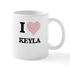 I love Keyla (heart made from words) design Mugs