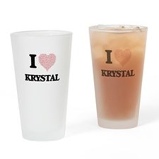 I love Krystal (heart made from wor Drinking Glass