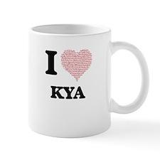 I love Kya (heart made from words) design Mugs