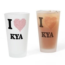 I love Kya (heart made from words) Drinking Glass