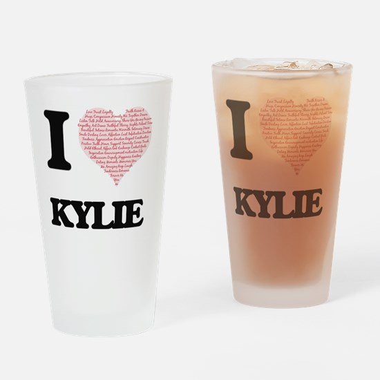 I love Kylie (heart made from words Drinking Glass