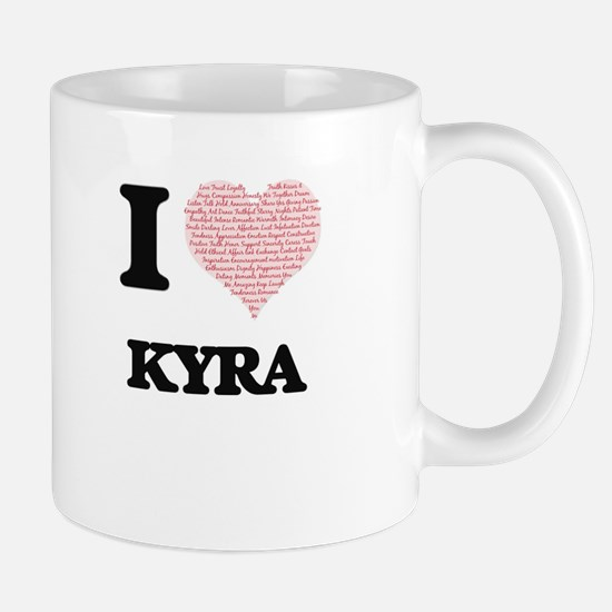 I love Kyra (heart made from words) design Mugs