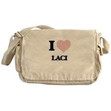 I love Laci (heart made from words) Messenger Bag