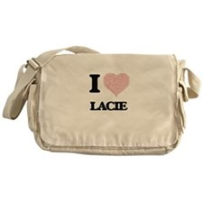 I love Lacie (heart made from words) Messenger Bag