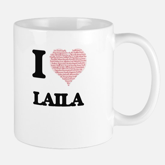 I love Laila (heart made from words) design Mugs