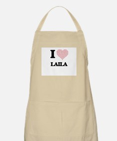 I love Laila (heart made from words) design Apron