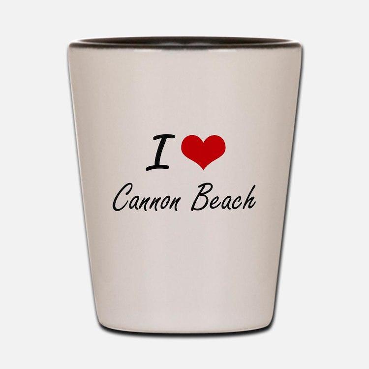 I love Cannon Beach Oregon artistic des Shot Glass