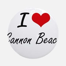 I love Cannon Beach Oregon artistic Round Ornament