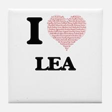 I love Lea (heart made from words) de Tile Coaster