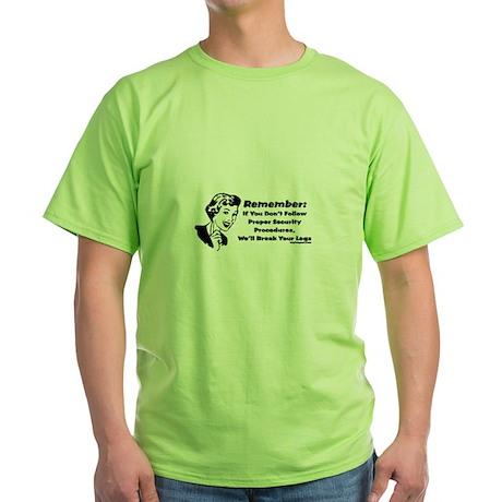 Security Procedures Green T-Shirt