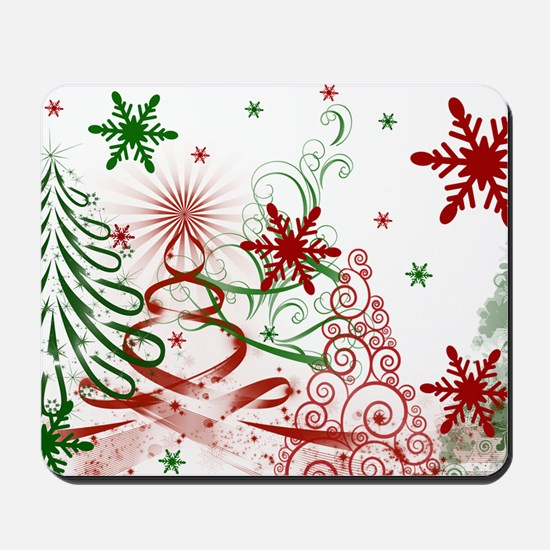 Abstract Green and Red Christmas Trees. Mousepad