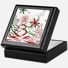 Abstract Green and Red Christmas Tree Keepsake Box