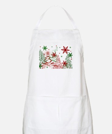 Abstract Green and Red Christmas Trees. Apron