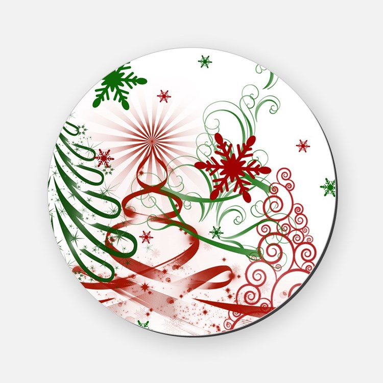 Abstract Green and Red Christmas Tre Cork Coaster